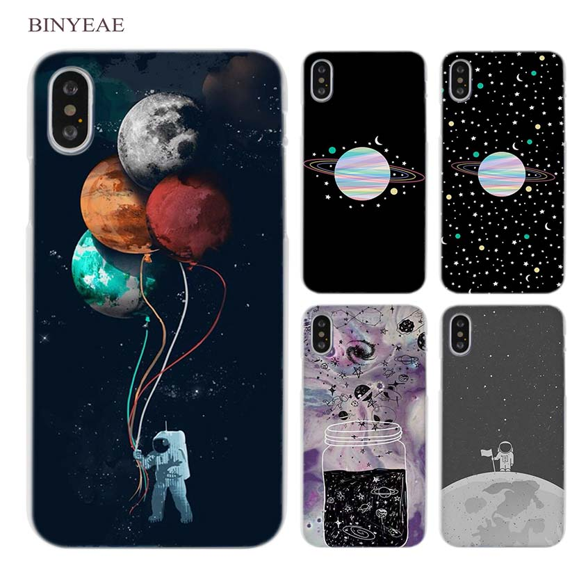 BINYEAE Merry Go Round Planet Space Alien sky Clear Cell Phone Hard Case Cover for iPhone X 6 6s 7 8 Plus 5 5s SE 5c 4 4s