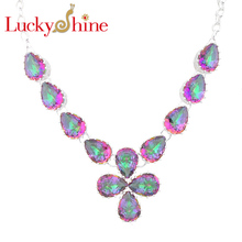 Luckyshine Dazzling Oval Fire Mystic Created Stone Silver Plated Wedding Chain Necklaces Russia USA Canada Pendants Necklaces(China)
