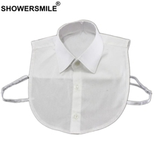 SHOWERSMILE Fake Collar Children White Cotton Turn Down Detachable Girls Boys Spring Summer False Shirt Collars