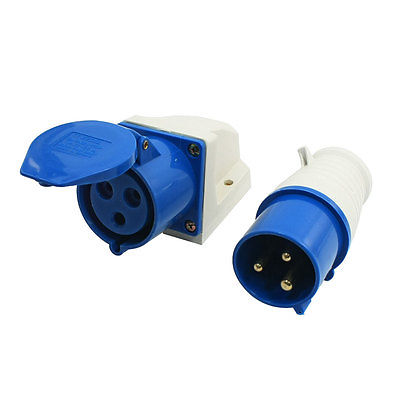 IEC309-2 32Amp 3 Pin Plug + Coupler Single Phase Industrial Waterproof Socket