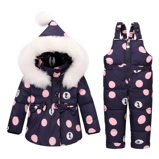 437e291bd Winter Baby Girls clothing Sets Warm Children Down Jackets Kids ...