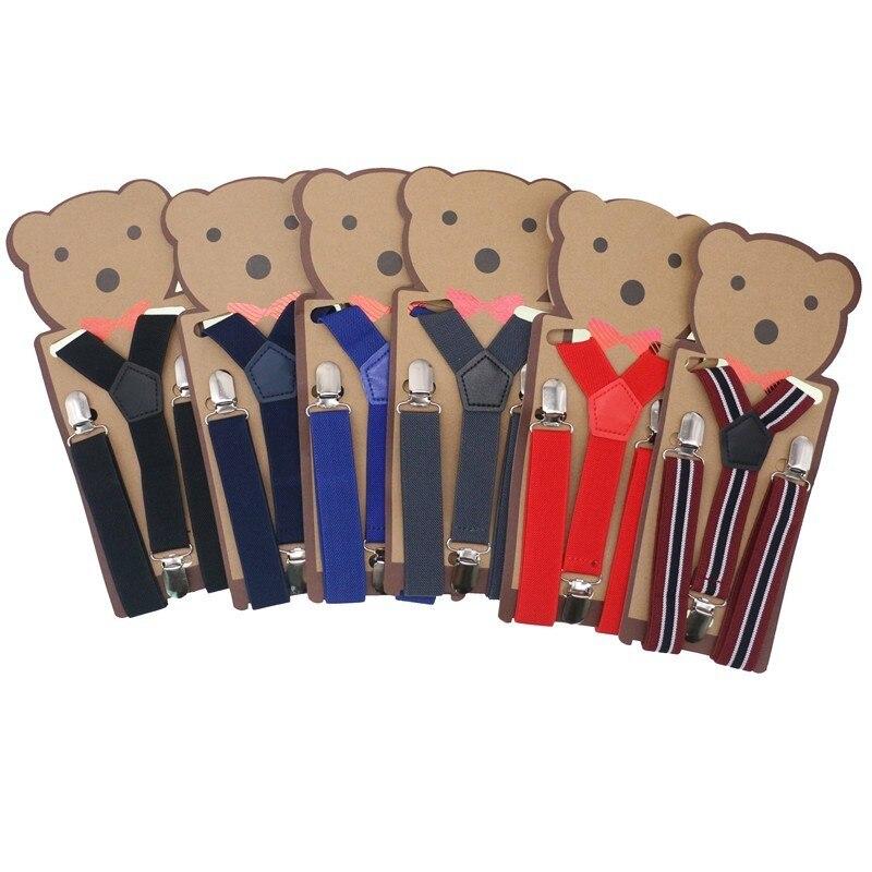 Cute Children Striped Design Suspenders Baby Boys Suspenders Clip-on Y-back Braces Elastic Kids Suspenders Gift