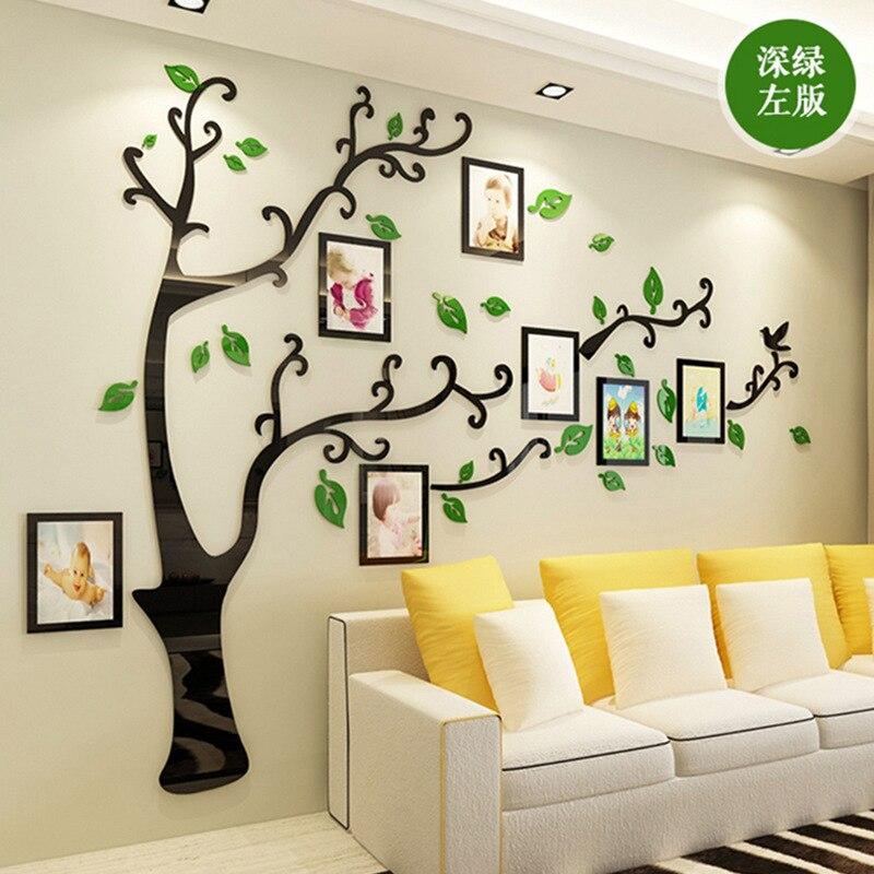 Large 3d Diy Family Photos Tree Acrylic Wall Sticker Wall Decor Living Room Bedroom Art Photo Frame Stickers Wall Decals Poster Wall Stickers Aliexpress