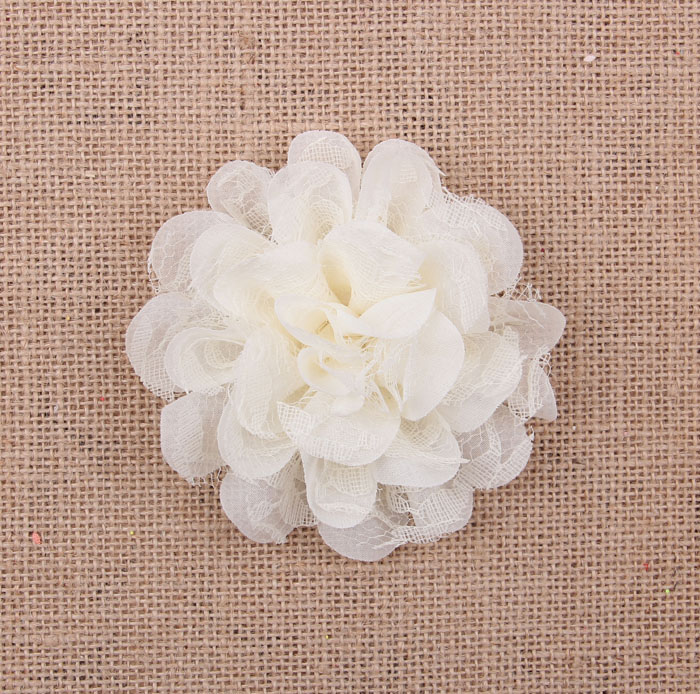 Yundfly 10pcs 4 quot Chic Lace Mesh Chiffon Flower For Baby Girls Hair Accessories Artificial Fabric Flowers For Headband Decoration