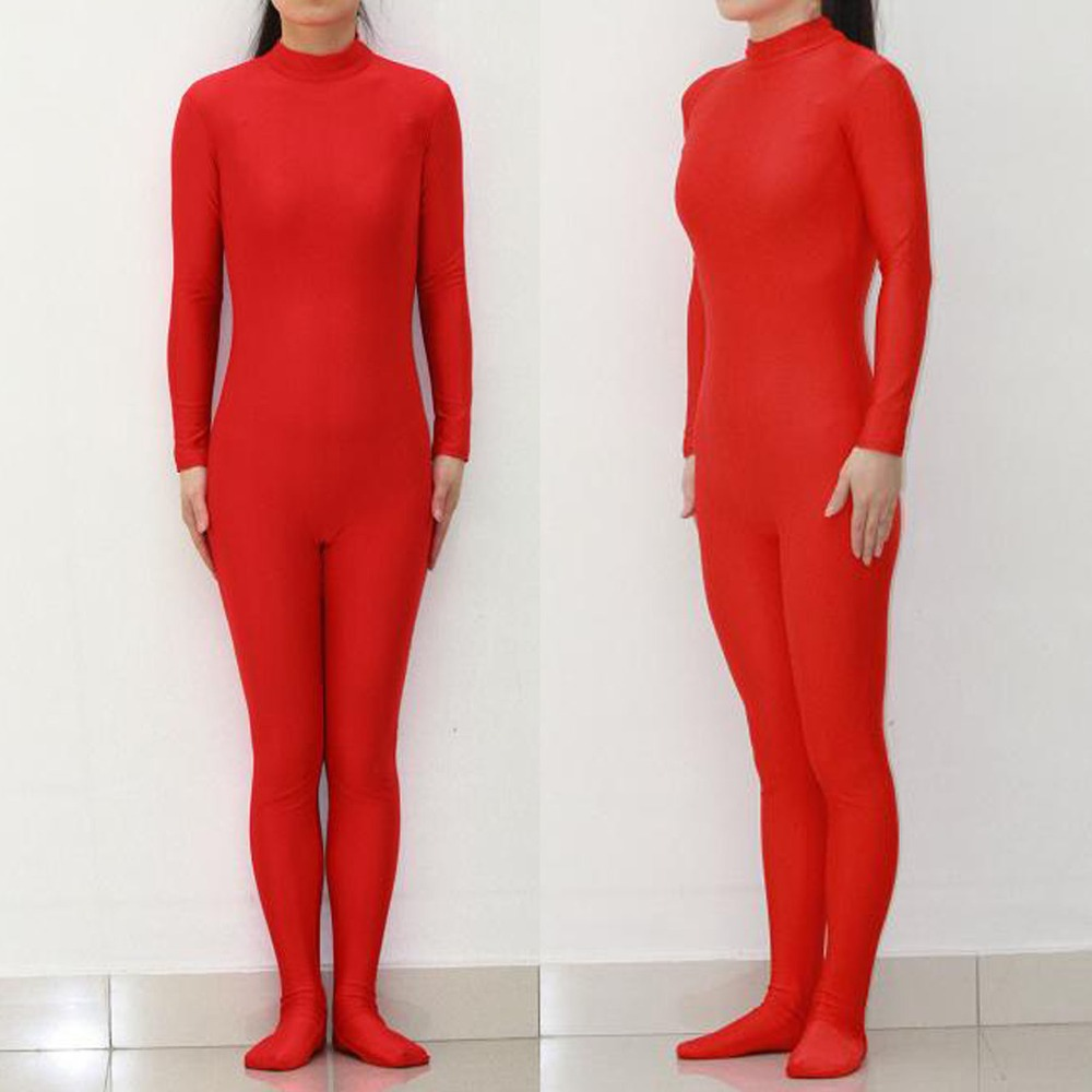Adult Lycra Spandex Turtleneck Womens Red Zentai Full Body Bodysuit Hoodless Skin Tight Suits Stretchy Footed Cosplay Dancewear