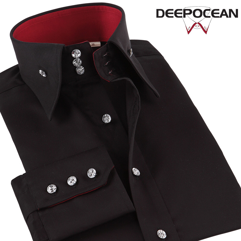 Deepocean Plus Size Men Shirt Autumn Winter Cotton Shirt Men Clothes Long Sleeve Smart Casual Business Shirts Men