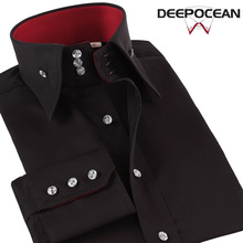 Deepocean Plus Size Men Shirt Autumn Winter Cotton Shirt Men Clothes L