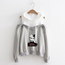 LUCKYFRIDAYF Hip Hop XXX Cool Print Women Idol Long Sleeve Hoodies Sweatshirts Off-Shoulder Exclusive Album Hooded Clothes