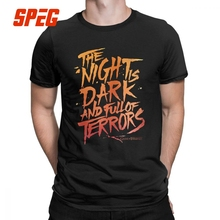 Game Of Thrones Men T Shirt Night is Dark And Full Of Terrors Vintage Cotton Short Sleeve Tees Round Neck T-Shirt 4XL 5XL Tops цены