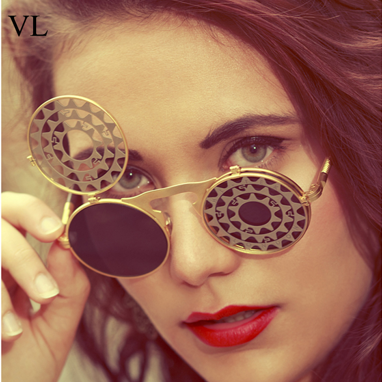 7116315f3f Funny Flip Up Vintage Sunglasses Steampunk Goth Sun Glasses For Women Round  Mirror Sunglass Men Metal Gold Frame Eyewear Oculos-in Sunglasses from  Apparel ...