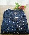 La primavera y el otoño de los hombres azul profundo moda cómoda de algodón de dibujos animados Pijamas De Satén
