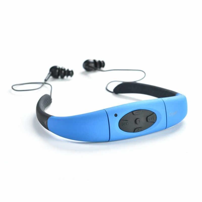 IPX8 Водонепроницаемый 4 ГБ подводный спорт MP3 музыкальный плеер шейным стерео наушники гарнитуры с FM для дайвинга плавание