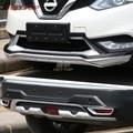 Автомобиль ABS Хром Передний + Задний бампер протектор Защита противоскользящая пластина подходит для Nissan Qashqai 2016 2017