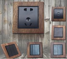 Manufacturer direct sale 86 walnut solid wood wall switch socket household luxury