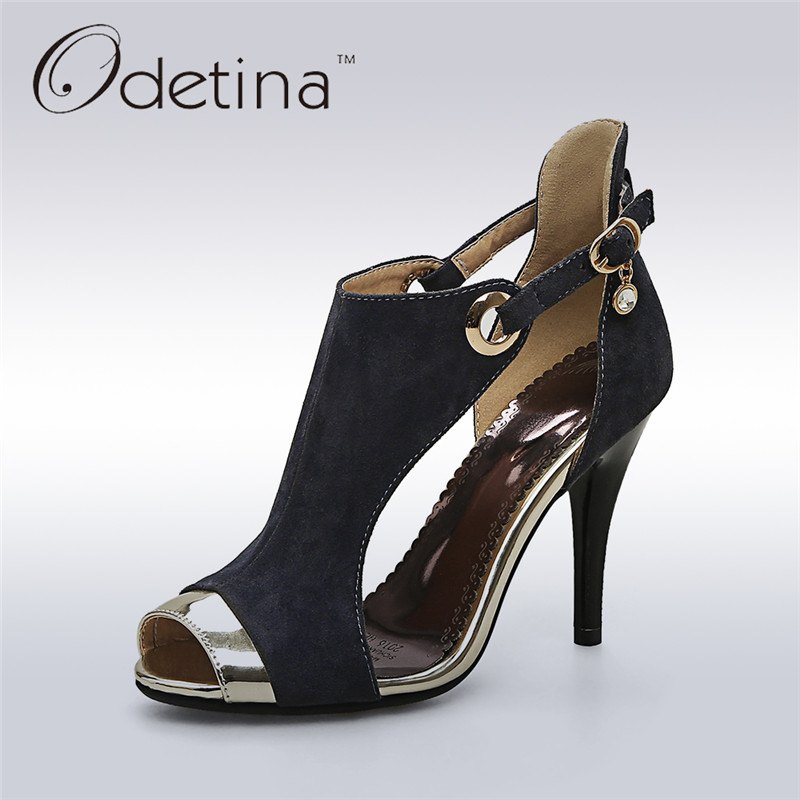 Odetina 2017 New Women Buckle Strap Peep Toe High Heels Sandals Gladiator Summer Boots Sexy Stiletto Party Shoes Big Size 32-44 brand new women platform sandals t strap rivets high heels wedding shoes woman peep toe gladiator women luxury big size shoes