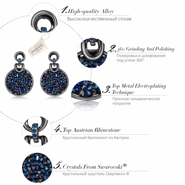 Hot Viennois Gun & Rose Gold Plated Dangle Earrings for Woman with Crystals from Swarovski Paved Round Vintage Earrings Jewelry