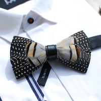 Free ship mens luxury 100% handmade dot natural feather bow knot tie/bow tie/stage/event/stage performance tuxedo bow tie
