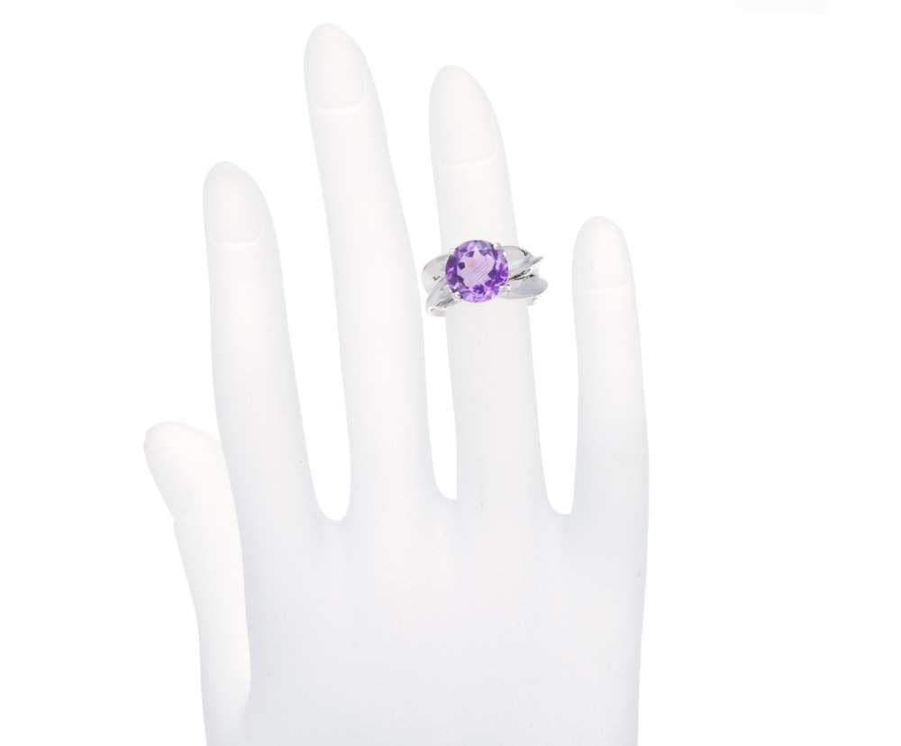 Hutang 2.95Ct Natural Purple Amethyst Gemstone Solid 925 Sterling Silver Solitaire Ring Women Fine Jewellry Mothers Day Gift