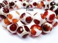 15.5 pulgadas strand de fútbol rojo y blanco tibetanos granos de dzi, talló tibetana joyería gemas cuentas, Turtleback cuentas de ágata