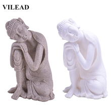 VILEAD Nature Sandstone Sleeping Buddha Statuettes Southeast Asia Thiland Fengshui Figurines Miniature Vintage Home Decor