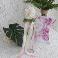 Free Shipping 2pcs Lot Shell Flower Ball Ribbon Wands Natural Shell Beach Wedding Decor Handmade Craft