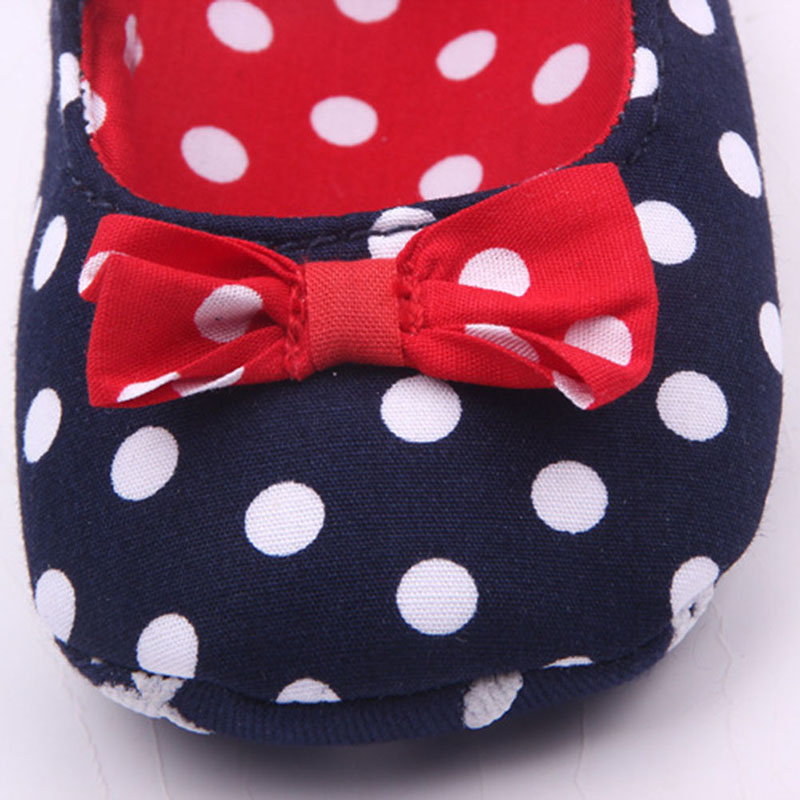 Baby Girl Soft Sole Shoes Dots Bowknot Toddler Anti-slip Shoes Newborn to 12M