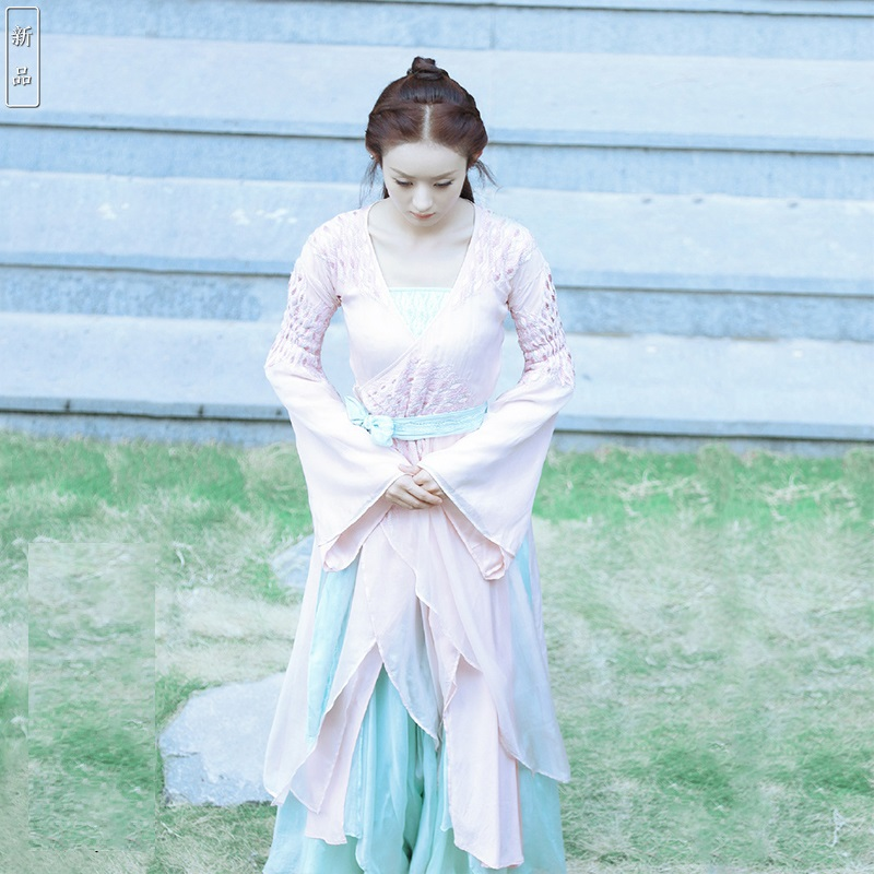 Zhao LiYing Pink Chiffon Lace Costume Hanfu Fairy Women Costume For Newest TV Play Princess Agents Legend Of ChuQiao Actress