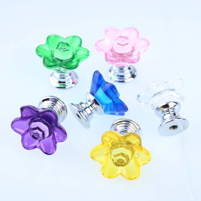 28mm Glass Crystal Flower Drawer Shoe Cabinet Knobs Pulls Handles Creative  Modern Fashion Pink Red Blue