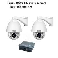 Security 4CH 1080P HD IP Network Camera NVR Kit High Speed Dome Auto Tracking Ptz Ip