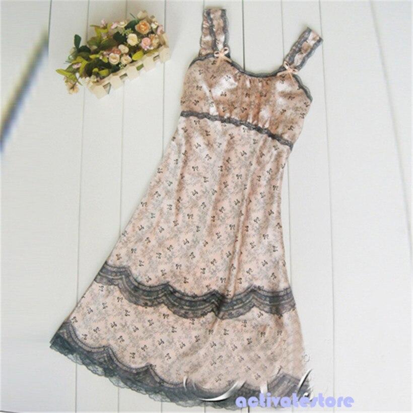 Sexy Women Lace Lingerie Imitated Silk Brace Sleepwear Nightgown JX0093