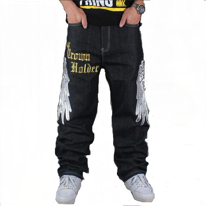 все цены на  2016 Big Size Hip-hop Jeans Mens Denim Distressed Masculina Men's Loose Long Pants Embroidery Street Dance Jeans Homme Black  онлайн