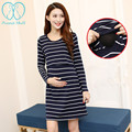3354# 2016 Autumn New Arrival Long Sleeve Knitted Cotton Nursing Dress for Maternity Mother Breastfeeding Clothes Breast Feeding