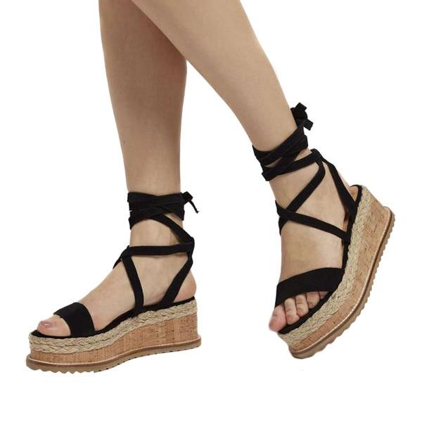 Women Lace Up Platform Sandals Espadrille Summer Beach Wedge Peep Toe Ankle Shoe