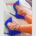 Beautiful and stylish free shipping, blue suede (PU), zipper, 11 cm stiletto pumps, pointed pumps.SIZE:34-45