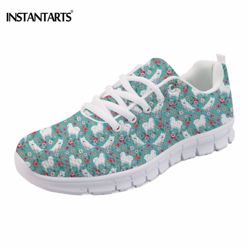INSTANTARTS Cute Women Flat Shoes Puppies Samoyed Flower Printed Teen Girls Spring Mesh Flats Shoes Fashion Comfortable Sneakers instantarts cute cartoon mouse print women flat shoes breathable lace up sneakers girls ladies fashion mesh light flats zapatos