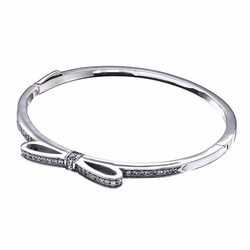 2018 Luxury Vintage 100% Real 925 Silver Butterfly knot Bangle&Bracelet Fit Original panqiou Bracelet For women DIY Jewelry