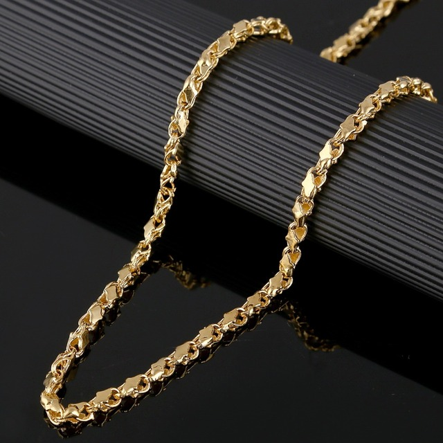 4a04053a4 Thick Chain Length 60cm Width 4mm Ethiopian Necklace 22K Gold Color African  Eritrea Cuban Chunky Necklace