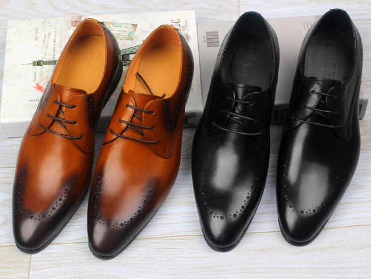Dress shoes men genuine leather lace up oxfords smart casual breathable pointed toes mix colour wedding carved brogue shoes цена и фото