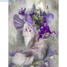 MOONCRESIN Diy Diamond Painting Cross Stitch Cat With Hats Mosaic Full 5D Embroidery Flower Kit Resin Decoration