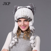 JKP Women winter rex rabbit fur hat ear protector caps knitted bomer hat 2015 fashion causal fur headgear good quality