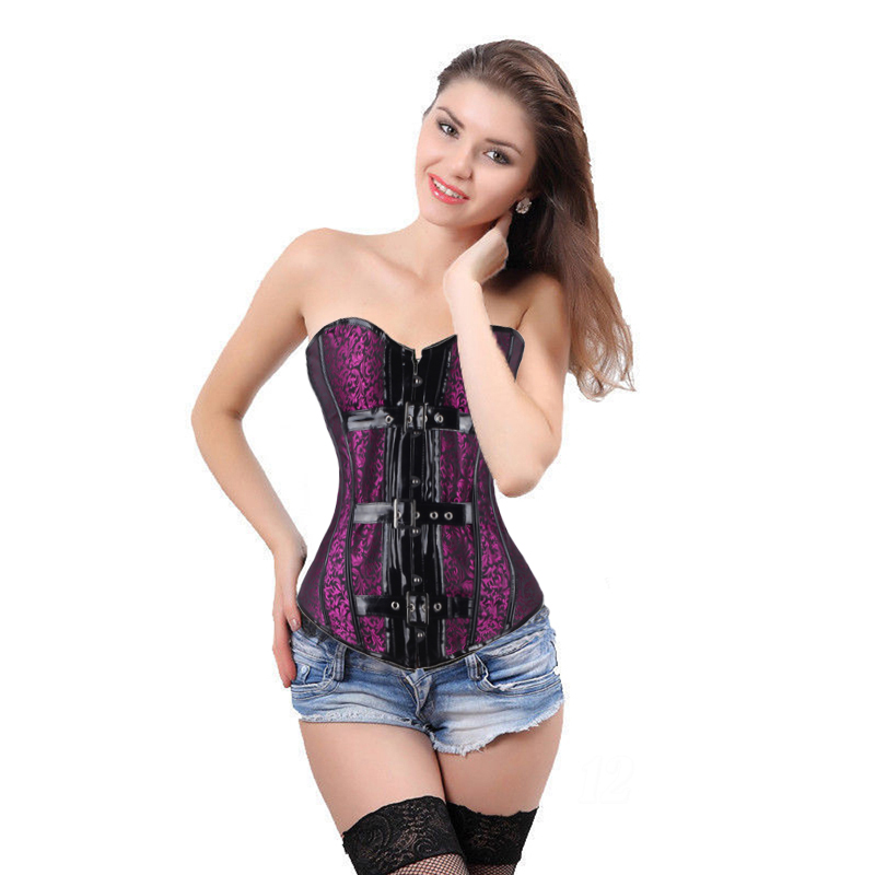 Hot Sale Womens Sexy Lace Up Boned Overbust   Corset     Bustier   Waist Cincher Shaper Fast Delivery