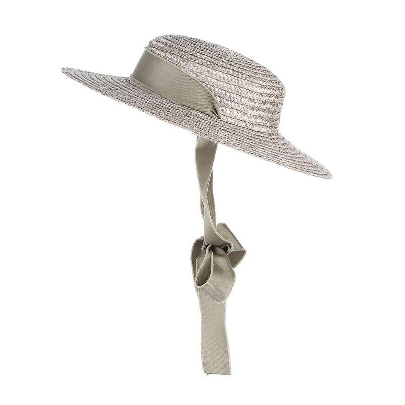 GEMVIE, соломенная шляпа с плоским верхом, летние шляпы для женщин, пляжная шляпа с лентой, шляпа-канотье, модная шляпа от солнца с ремешком для ...
