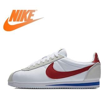 8625a397 Оригинальный Официальный Nike CLASSIC CORTEZ Водонепроницаемая женская  обувь спортивная, кроссовки на плоской подошве уличная легкая обувь Nike  Roshe
