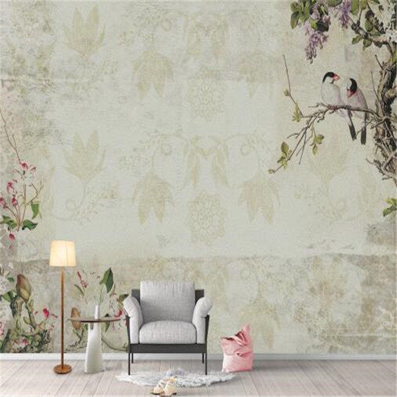 3D Wall Paper for Walls Chinese Style Painting Non-Woven Wallpapers Vintage Bird Flower Mural Living Room Decorative Wallpapers 3d wall paper for walls vintage brick non woven wallpapers stone pattern mural living room decorative wallpapers dark brown