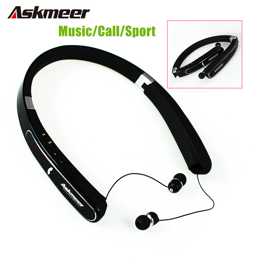 Askmeer Neckband Foldable Bluetooth Headset Wireless Sport Headphones Bass Earbuds Blue tooth Earphone With Mic for Mobile Phone askmeer sports bluetooth earphone neckband earbuds headset wireless handsfree foldable headphones with mic for iphone xiaomi