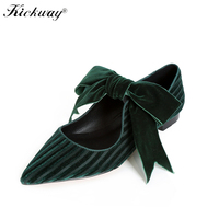 2019 New Butterfly knot Flat Loafer Shoes Women Black Women Flats Golden Velvet Shoes Casual Pointed Toe Women Ballet Flats