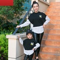 Striped Loose Sweatshirt Family Matching Mother Child Tops Mom and Daughter Clothes Family Set Parent-Child Family Clothing CH01