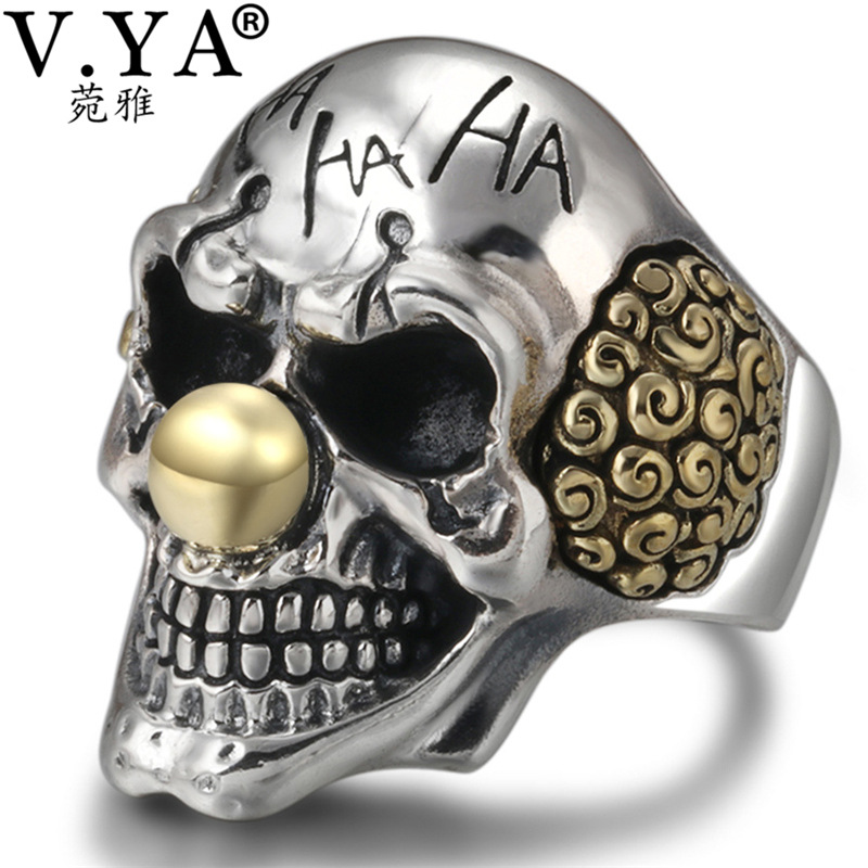V.YA Punk Silver Clown Skull Rings 925 Sterling Silver Male Ring Adjustable Mens Jewelry Gothic Style Fashion GiftsV.YA Punk Silver Clown Skull Rings 925 Sterling Silver Male Ring Adjustable Mens Jewelry Gothic Style Fashion Gifts