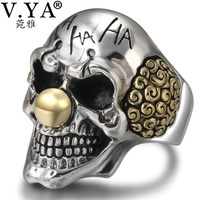 V.YA Punk Silver Clown Skull Rings 925 Sterling Silver Male Ring Adjustable Mens Jewelry Gothic Style Fashion Gifts