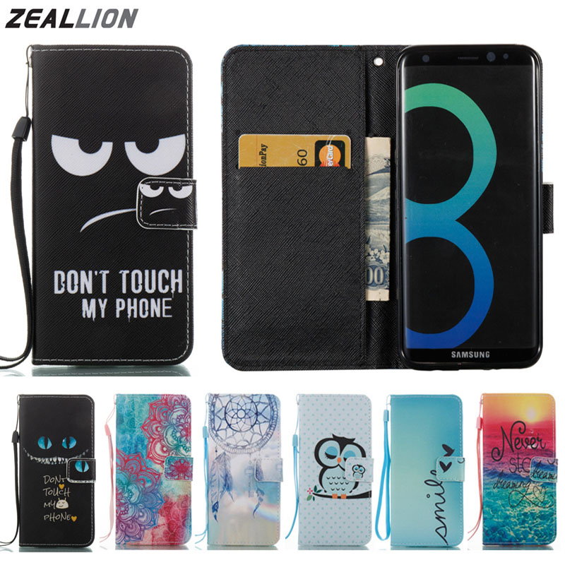 82a00ddd351 For Samsung Galaxy S5 S6 S7 S8 Edge Plus Case Cartoon Design Magnetic  Holster Flip